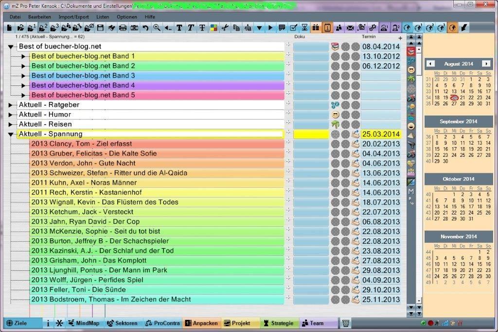 Bruno Klumpp: meineZiele - Screenshot: Literaturarchiv mit meineZiele